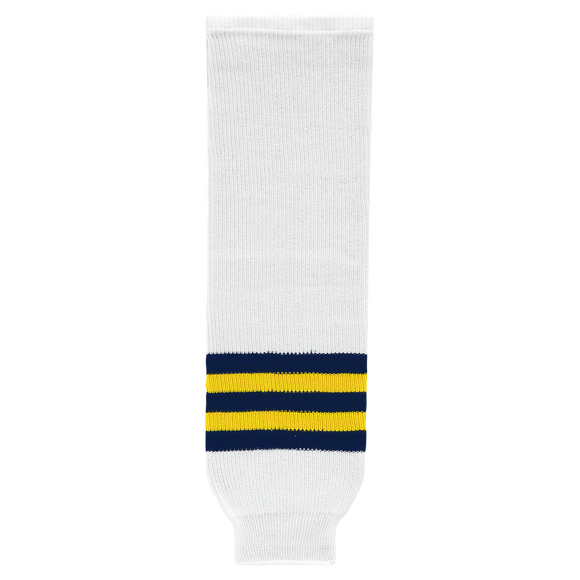 Athletic Knit (AK) HS630 2011 University of Michigan Wolverines White Ice Hockey Socks