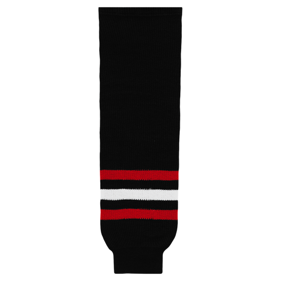 Athletic Knit (AK) HS630-614 New Chicago Blackhawks Third Black Ice Hockey Socks