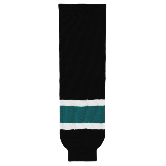 Athletic Knit (AK) HS630-634 2008 San Jose Sharks Third Black Ice Hockey Socks
