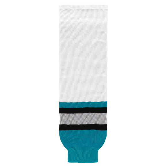 Athletic Knit (AK) HS630-637 San Jose Sharks White Ice Hockey Socks