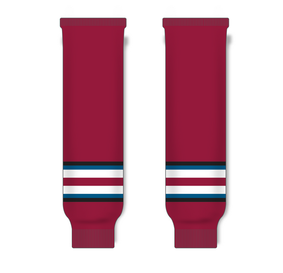Athletic Knit (AK) HS630 2002 Colorado Avalanche Third AV Red Ice Hockey Socks - PSH Sports
