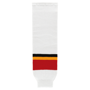 Athletic Knit (AK) HS630-682 Calgary Flames Third White Ice Hockey Socks