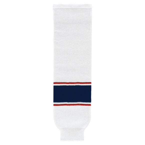 Athletic Knit (AK) HS630-689 2017 Columbus Blue Jackets White Knit Ice Hockey Socks