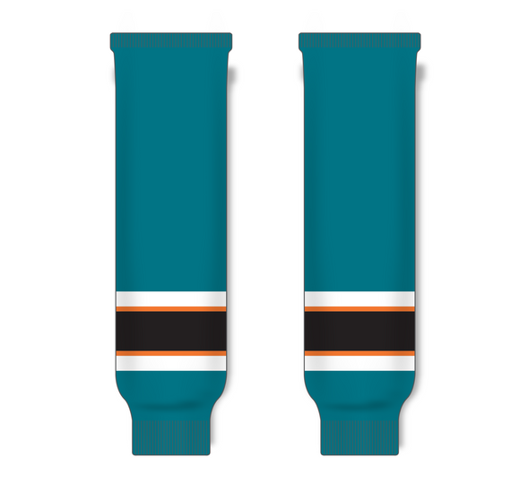 Athletic Knit (AK) HS630 2009 San Jose Sharks Dark Teal Ice Hockey Socks - PSH Sports