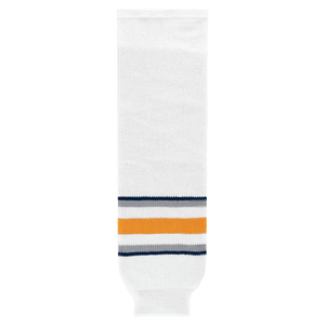 Athletic Knit (AK) HS630-811 2009 Buffalo Sabres Third White Knit Ice Hockey Socks