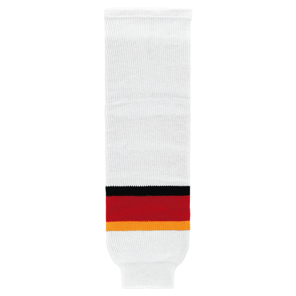 Athletic Knit (AK) HS630-882 2013 Calgary Flames White Ice Hockey Socks