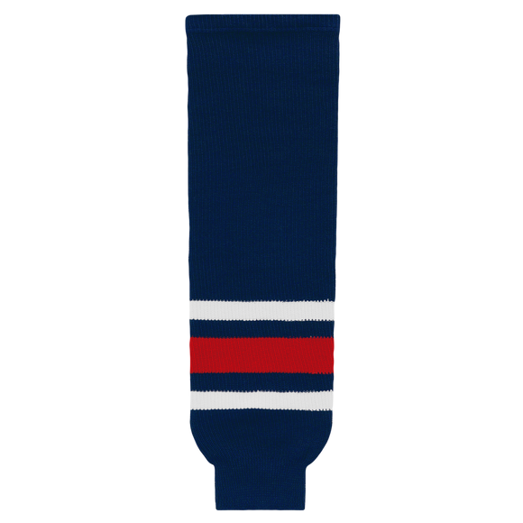 Athletic Knit (AK) HS630-890 2010 Columbus Blue Jackets Navy Knit Ice Hockey Socks