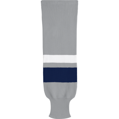 1e704ab8870c Kobe Sportswear X9800 Grey Navy White X Series League Knit Ice Hockey Socks