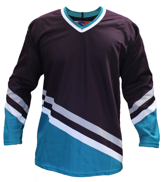 SP Apparel League Series Anaheim Mighty Ducks Eggplant Sublimated Hockey Jersey - PSH Sports