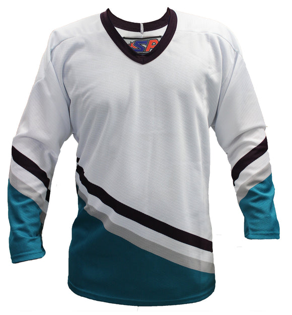 SP Apparel League Series Anaheim Mighty Ducks White Sublimated Hockey Jersey - PSH Sports
