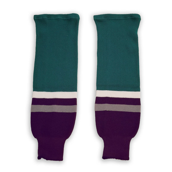 Modelline 1990s Anaheim Mighty Ducks Away Eggplant/Jade Knit Ice Hockey Socks
