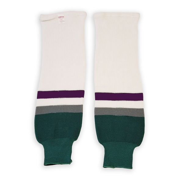 Modelline 1990s Anaheim Mighty Ducks Home White Knit Ice Hockey Socks