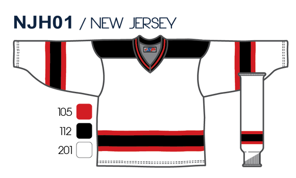 SP Apparel League Series New Jersey Devils White Sublimated Hockey Jersey - PSH Sports