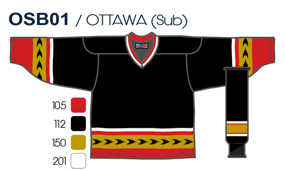SP Apparel League Series Ottawa Senators Black Sublimated Hockey Jersey - PSH Sports