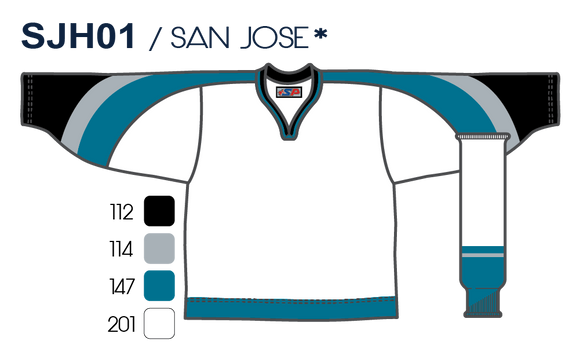 SP Apparel League Series San Jose Sharks White Sublimated Hockey Jersey - PSH Sports