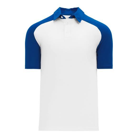 Athletic Knit (AK) A1815M-207 Mens White/Royal Blue Short Sleeve Polo Shirt