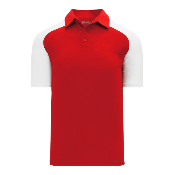 Athletic Knit (AK) A1815M-208 Mens Red/White Short Sleeve Polo Shirt