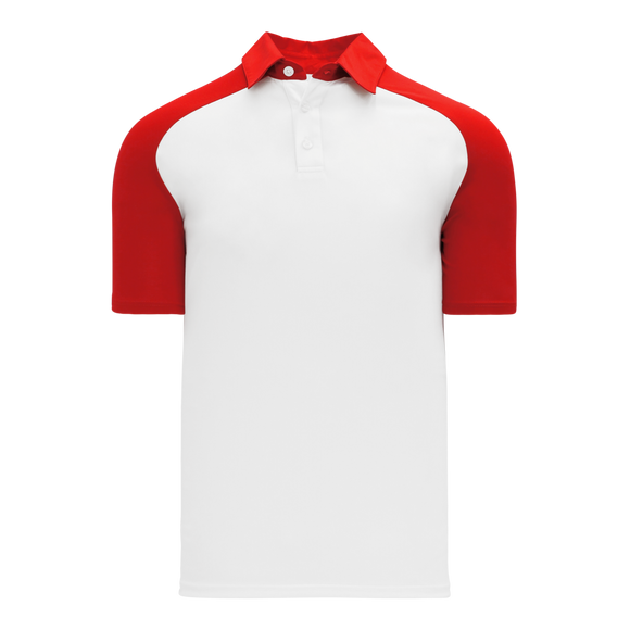 Athletic Knit (AK) A1815M-209 Mens White/Red Short Sleeve Polo Shirt