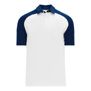 Athletic Knit (AK) A1815M-217 Mens White/Navy Short Sleeve Polo Shirt