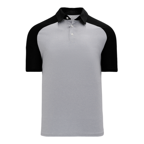 Athletic Knit (AK) A1815M-920 Mens Heather Grey/Black Short Sleeve Polo Shirt