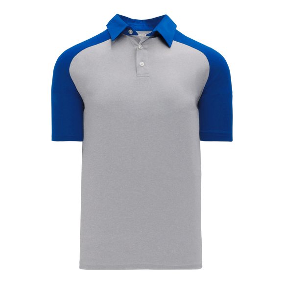 Athletic Knit (AK) A1815M-922 Mens Heather Grey/Royal Blue Short Sleeve Polo Shirt