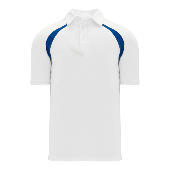 Athletic Knit (AK) A1820M-207 Mens White/Royal Blue Short Sleeve Polo Shirt