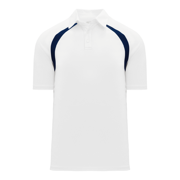 Athletic Knit (AK) A1820M-217 Mens White/Navy Short Sleeve Polo Shirt