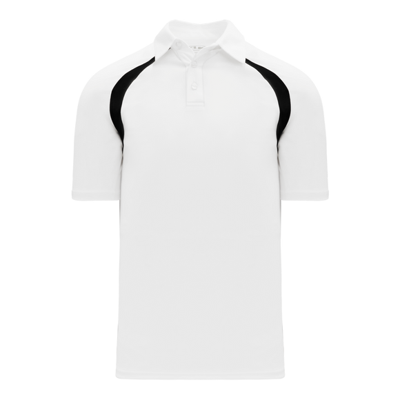 Athletic Knit (AK) A1820M-222 Mens White/Black Short Sleeve Polo Shirt