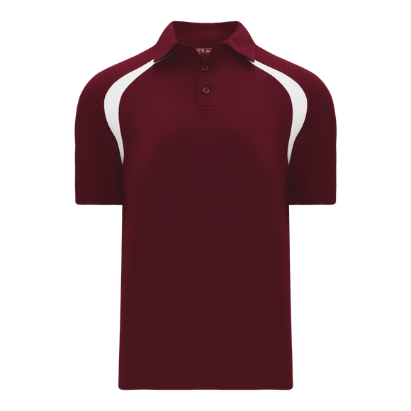 Athletic Knit (AK) A1820M-233 Mens Maroon/White Short Sleeve Polo Shirt