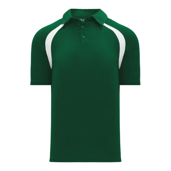 Athletic Knit (AK) A1820Y-260 Youth Dark Green/White Short Sleeve Polo Shirt
