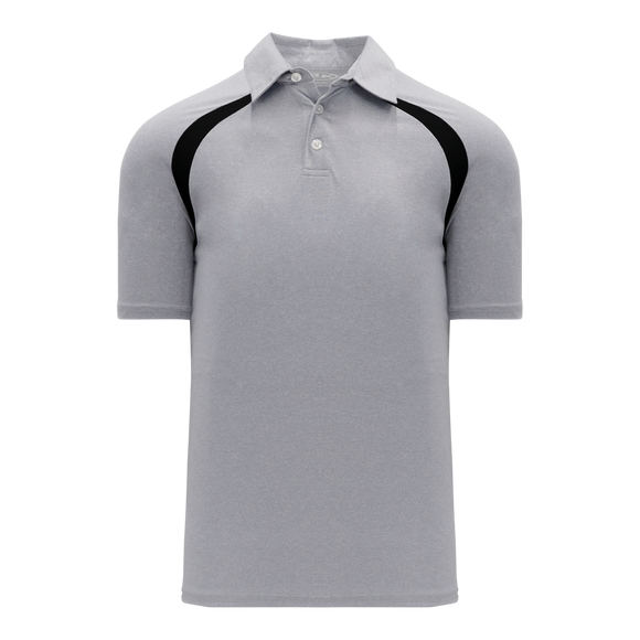Athletic Knit (AK) A1820-920 Heather Grey/Black Short Sleeve Polo Shirt