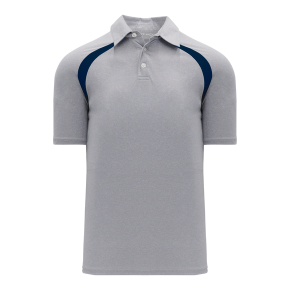 Athletic Knit (AK) A1820M-921 Mens Heather Grey/Navy Short Sleeve Polo Shirt