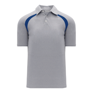 Athletic Knit (AK) A1820M-922 Mens Heather Grey/Royal Blue Short Sleeve Polo Shirt