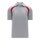 Athletic Knit (AK) A1820M-923 Mens Heather Grey/Red Short Sleeve Polo Shirt