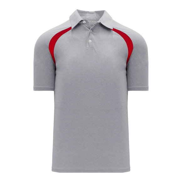 Athletic Knit (AK) A1820Y-923 Youth Heather Grey/Red Short Sleeve Polo Shirt