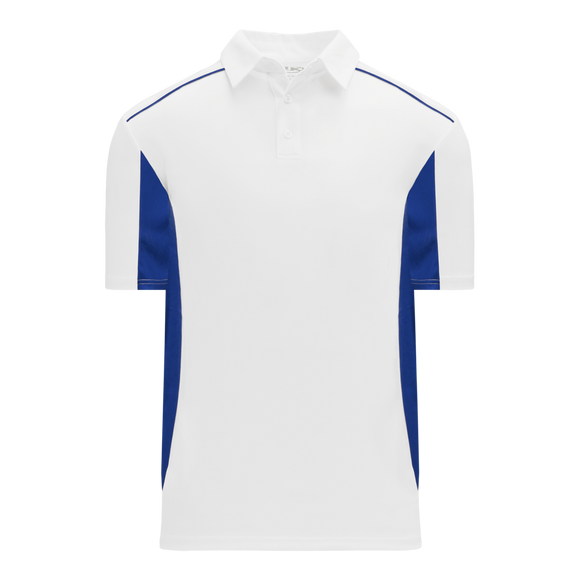 Athletic Knit (AK) A1825Y-207 Youth White/Royal Blue Short Sleeve Polo Shirt