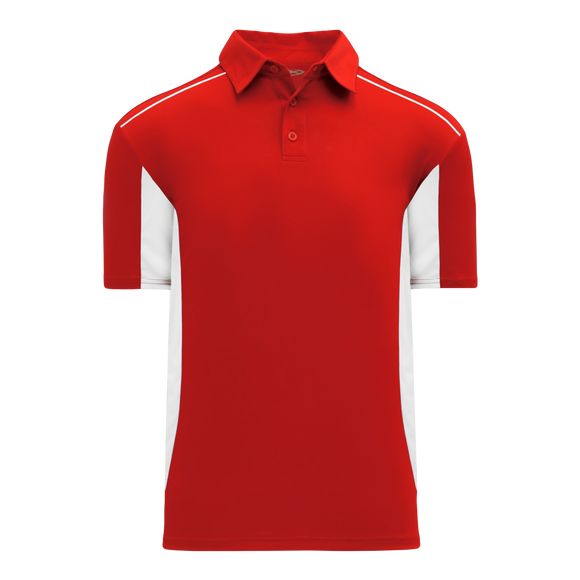 Athletic Knit (AK) A1825-208 Red/White Short Sleeve Polo Shirt