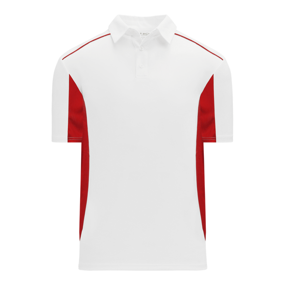 Athletic Knit (AK) A1825-209 White/Red Short Sleeve Polo Shirt