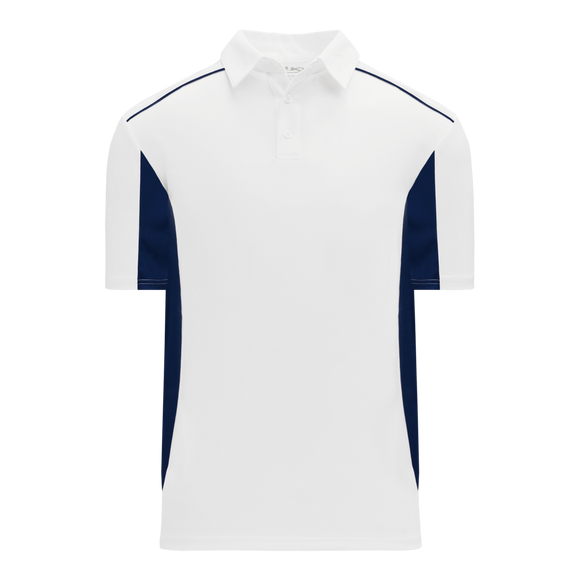 Athletic Knit (AK) A1825-217 White/Navy Short Sleeve Polo Shirt