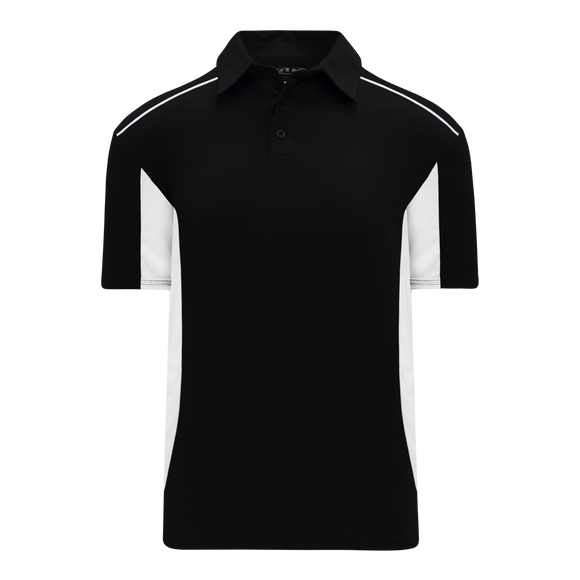 Athletic Knit (AK) A1825-221 Black/White Short Sleeve Polo Shirt