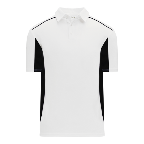 Athletic Knit (AK) A1825-222 White/Black Short Sleeve Polo Shirt