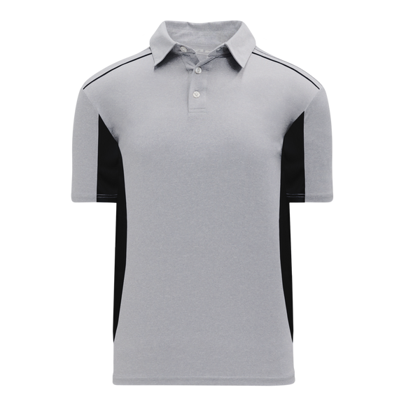 Athletic Knit (AK) A1825-920 Heather Grey/Black Short Sleeve Polo Shirt
