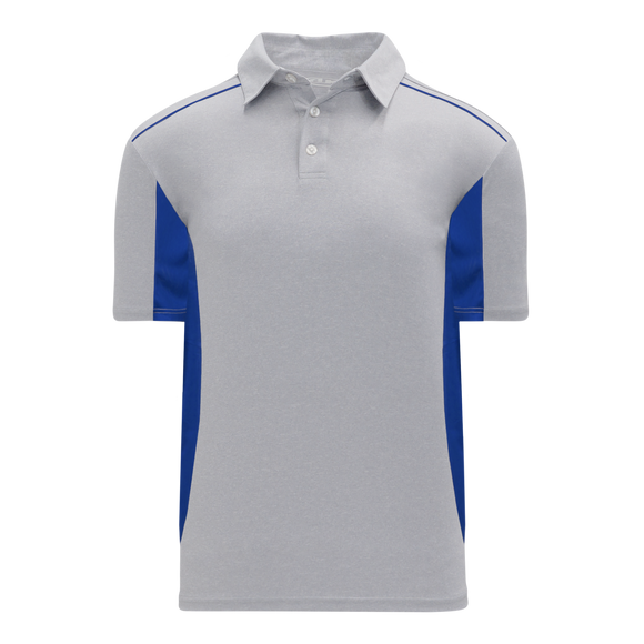 Athletic Knit (AK) A1825Y-922 Youth Heather Grey/Royal Blue Short Sleeve Polo Shirt