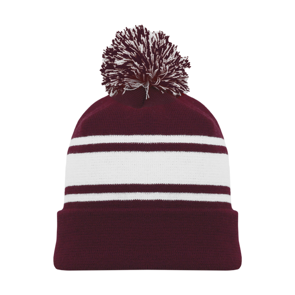 Athletic Knit (AK) A1830A-233 Adult Maroon/White Hockey Toque/Beanie