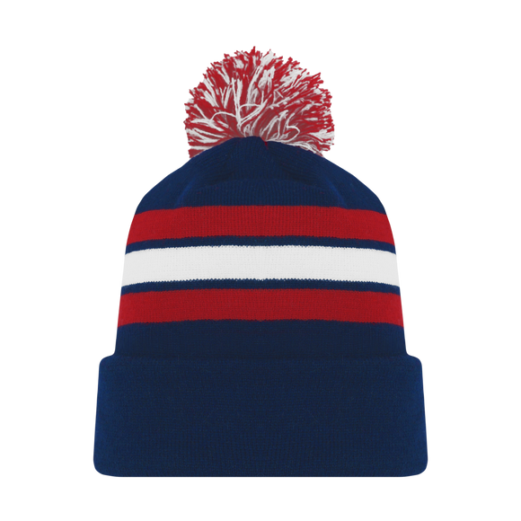 Athletic Knit (AK) A1830Y-764 Youth Navy/Red/White Hockey Toque/Beanie