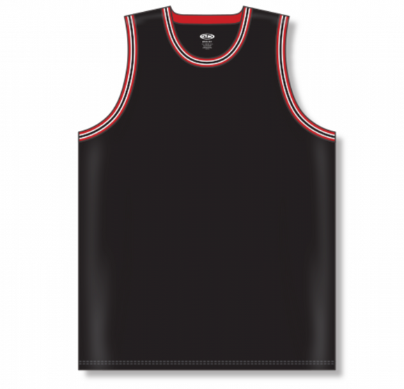 Athletic Knit (AK) B1710 Black/Red/White Pro Basketball Jersey