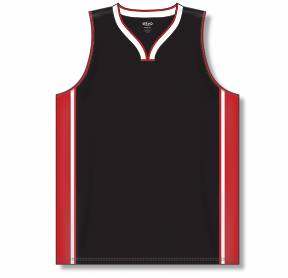 Athletic Knit (AK) B1715 Black/Red/White Pro Basketball Jersey