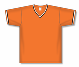 Athletic Knit (AK) BA1333-330 Orange/Black/White Pullover Baseball Jersey
