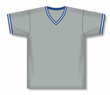 Athletic Knit (AK) BA1333A-450 Adult Grey/Royal Blue/White Pullover Baseball Jersey