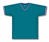 Athletic Knit (AK) BA1333 Pacific Teal/Navy/White Pullover Baseball Jersey
